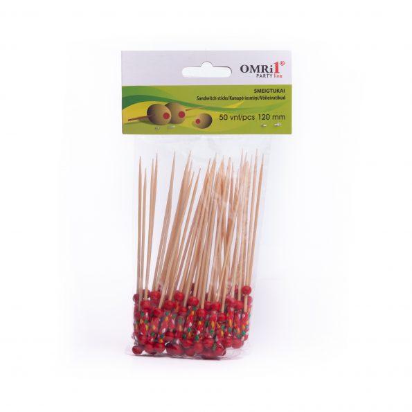 Smeigtukai bambukiniai OMRi1 12cm 50 -Raudoni (art.1719)